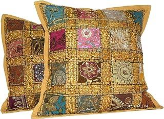 ANJANIYA 2 Funda de cojín bordado de lentejuelas, 40 x 40