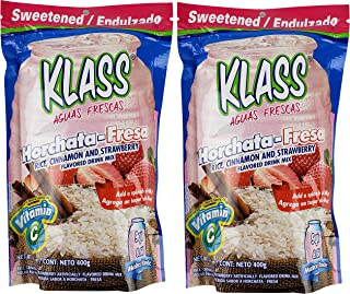 Klass Instant Fiesta Drink Mix Powder Variety Pack of 2 - Horchata Fresa Rice Strawberry and Cinnamon Flavored Soft Drink - Perfect Summer Drink Mix For Adults, Teens, Kids - Two Pack