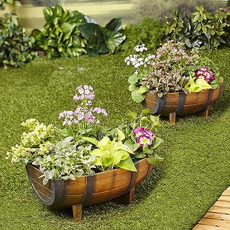 Half Barrel Garden Planters – Farmhouse Garden - Set of 2