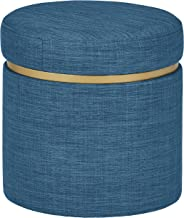 Rivet Asher Modern Storage Ottoman, 15.75W, Fabric, Navy