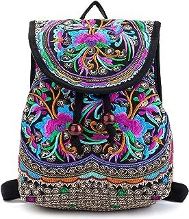 Embroidery Backpack Purse for Women Vintage Handbag Small Drawstring Casual Travel Shoulder Bag Daypack…