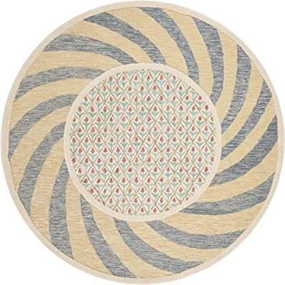 Safavieh Novelty Collection NOV108A Handmade Wool Area Rug, 6' x 6' Round, Ivory Blue/Rose