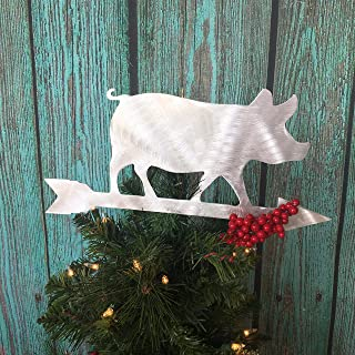 Pig Weathervane, Tree Topper, Christmas Tree Topper, Wreath Decoration, Holiday Decoration, Aluminum
