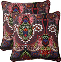 Pillow Perfect Outdoor Marapi Corded Throw Pillow, 18.5-Inch, Black, Set of 2