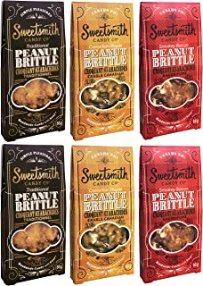 Sweetsmith Candy Co. Peanut Brittle Variety Pack - Smokey Bacon, Maple and Traditional Peanut Brittle (Pack of 6)