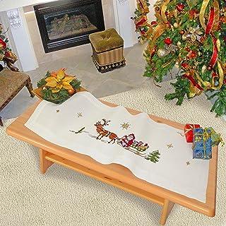 Kamaca Stickpackung FRÖHLICHE Weihnachten mit Rentieren und dem Weihnachtsmann Kreuzstich vorgezeichnet aus 100% Baumwolle zum Selbersticken Winter Weihnachten Tischläufer 40 x 100 cm