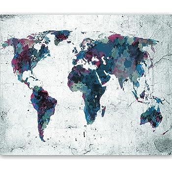murando Papier peint intiss/é Monde 350x256 cm D/écoration Murale XXL Poster Tableaux Muraux Tapisserie Photo Trompe loeil Carte du monde Textur k-A-0466-a-a
