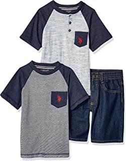 U.S. Polo Assn. Boys 8722 Short Sleeve T-Shirt, Henley, and Denim Short Set Shorts Set