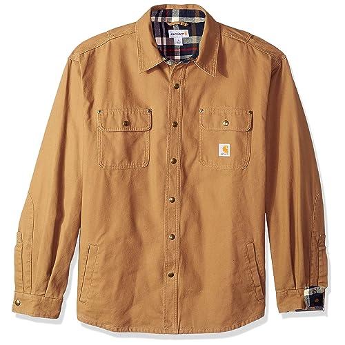 19faf10d40a Carhartt Men s Weathered Canvas Snap Front Shirt Jacket