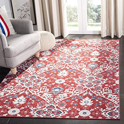 """Safavieh BNT894R-5 Brentwood Collection BNT894R Red and Ivory Area (5'3"""" x 7'6"""") Rug"""