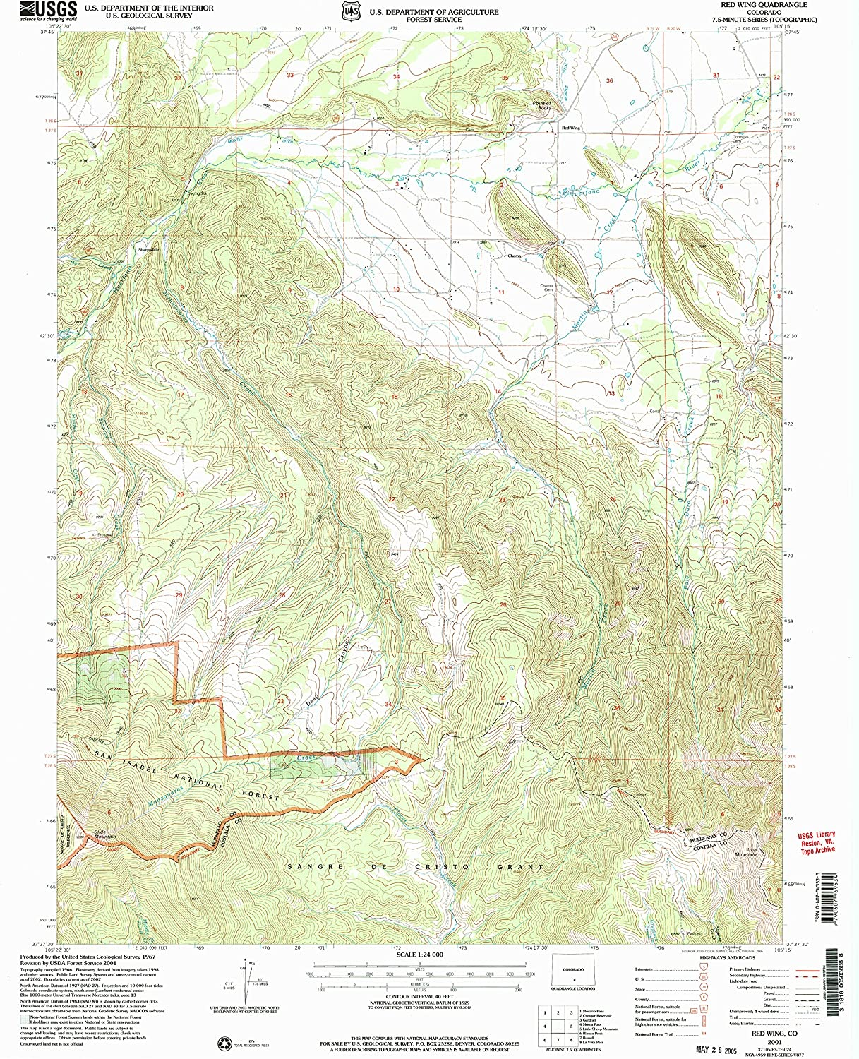 Red Wing CO topo map, 1 24000 Scale, 7.5 X 7.5 Minute, Historical, 2001, Updated 2005, 26.8 x 22.1 in
