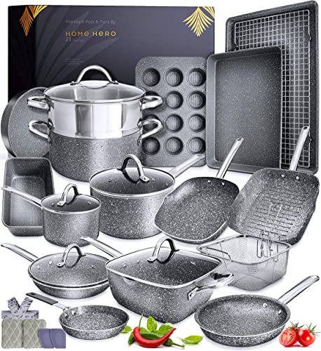 high quality Granite Cookware Sets Nonstick Pots and Pans Set Nonstick - 23pc Kitchen Cookware Sets Induction Cookware Induction popular Pots and Pans for Cooking online Pan Set Granite Cookware Set Non Sticking Pan Set sale