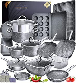 Granite Cookware Sets Nonstick Pots and Pans Set Nonstick - 23pc Kitchen Cookware Sets Induction Cookware Induction Pots a...