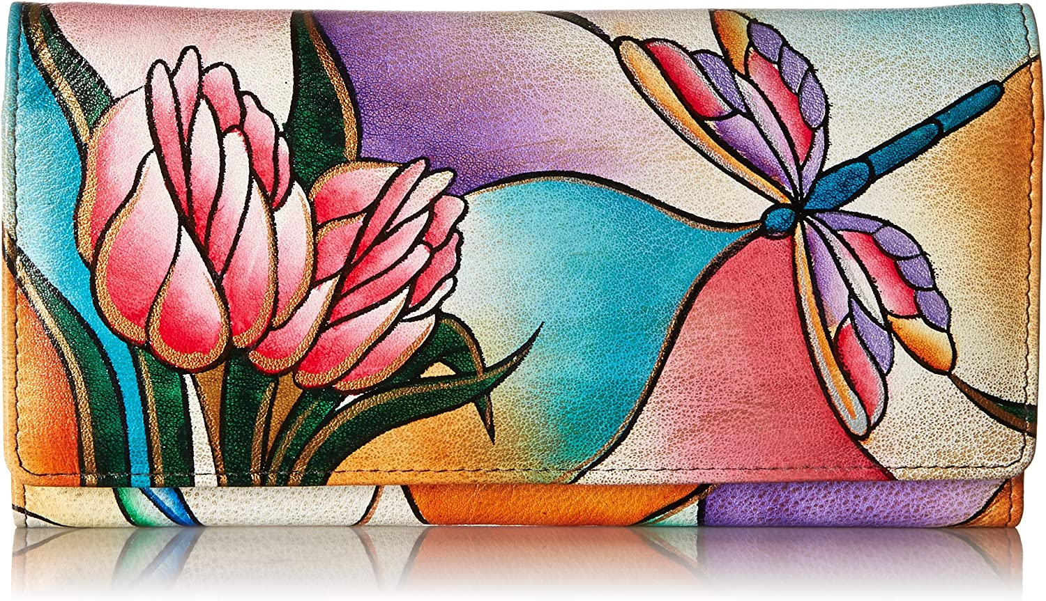 Anna by Outlet SALE Anuschka Hand Painted Leather Compartment Walle Low price Triple