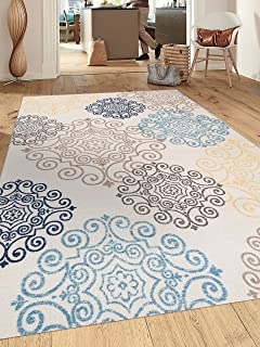 Modern Floral Swirl Design  Non-Slip (Non-Skid) Area Rug 5 X 7 (5' 3