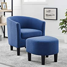 DAZONE Modern Accent Chair Upholstered Arm Chair Linen Fabric Single Sofa Barrel Chair with Ottoman Foot Rest Blue
