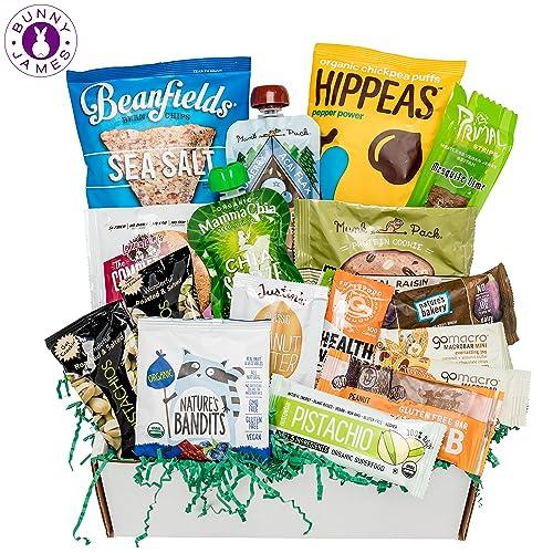 Healthy Vegan Snacks Care Package: Mix of Vegan Cookies, Protein Bars, Chips,