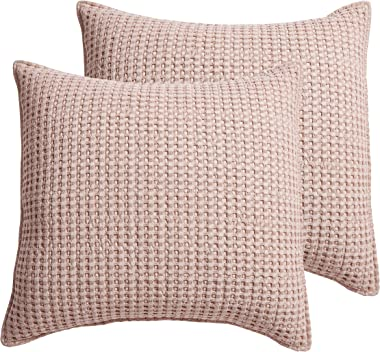 Levtex home - Mills Waffle - Euro Sham (Set of Two) - Blush - Sham Size (26 x 26in.)