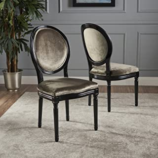 Christopher Knight Home Camille Traditional New Velvet Dining Chairs (Set of 2), Grey/Gloss Black