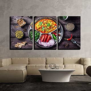 wall26 - 3 Piece Canvas Wall Art - Indian Mutter Paneer Dish with Spices on The Wooden Background - Modern Home Decor Stretched and Framed Ready to Hang - 24