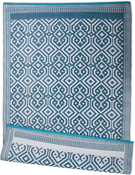 DII Contemporary Indoor Outdoor Lightweight Reversible Fade Resistant Area Rug Great For Patio Deck Backyard Picnic Beach Camping BBQ 4 X 6 Blue Morrocan