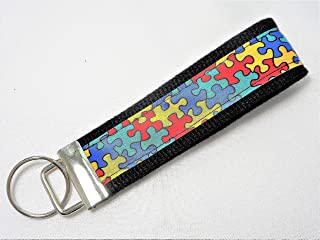 Autism Awareness Puzzle Ribbon Wristlet Key Fob Keychain
