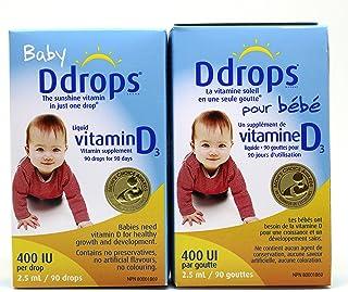加拿大 Baby Ddrops 400IU 90 Drops 加拿大 婴儿宝宝维生素D3滴剂90滴补钙 2瓶