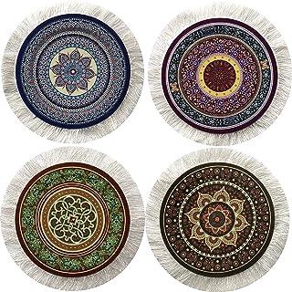 Set of 4 Round Coasters - Rug Table Drink Holders - Oriental Design Fabric Elegant Carpets (Set-1)