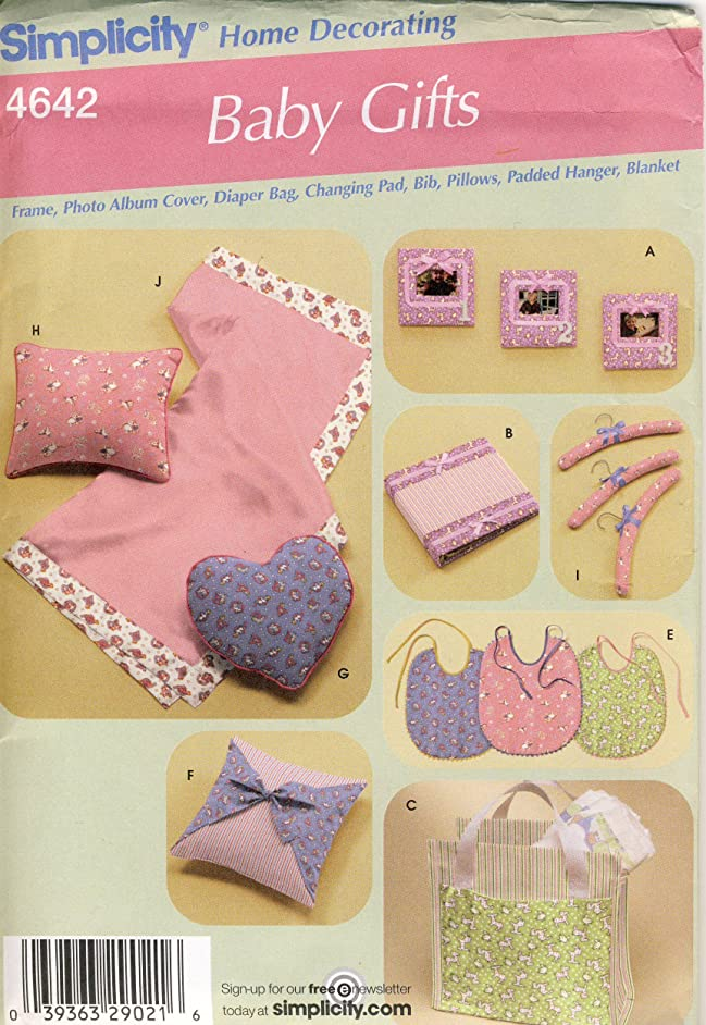 Simplicity Sewing Pattern 4642 - Use to Make - Baby Gift Items - Frame, Bib, Changing Pad, Pillow, Hanger, Blanket