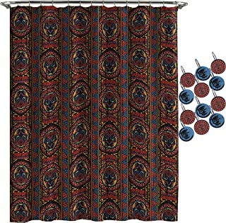 Jay Franco Marvel Black Panther Tribal Shower Curtain & 12-Piece Hook Set & Easy Use (Official Marvel Product)