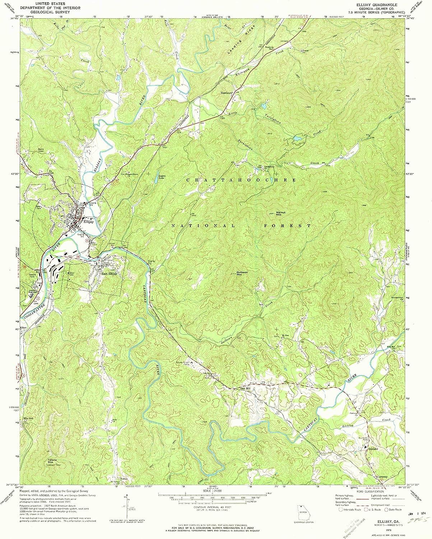 Updated 1973 Historical 26.8 x 22 in 1971 1:24000 Scale YellowMaps Ellijay GA topo map 7.5 X 7.5 Minute