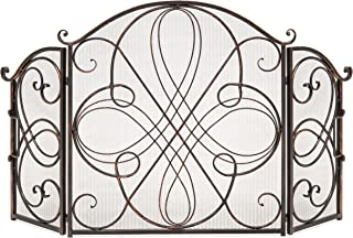 Best Choice Products 3-Panel Wrought Iron Fireplace Safety Screen Decorative Scroll Spark Guard Cover