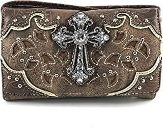 Justin West Laser Cut Rhinestone Cross Studded Cross Shape Design Wristlet Trifold Wallet Attachable Long Strap