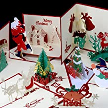 Mobling Pop Up Christmas Cards [10 Pack] Classy Crimson - Eco-Friendly Recycled Paper Holiday Greeting Cards & Envelopes