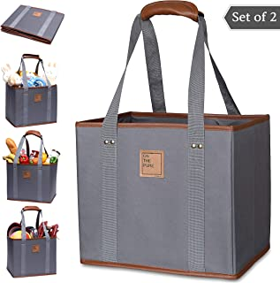 Reusable Grocery Tote Bags (Set of 2, Grey) – Luxury Shopping Box Bag(+PU Leather, Strap Handle, Pocket) – Durable Collapsible Cart Bag(Nylon Material, Reinforced Sides and Bottom, Heavy Duty, Large)
