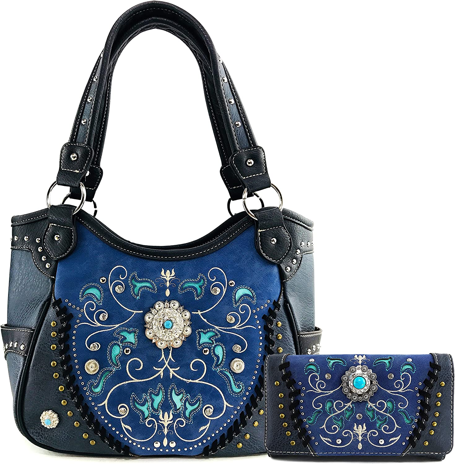 Genuine Free Shipping Justin West Concho Dallas Mall Floral Embroidered CCW Studded Carr Concealed