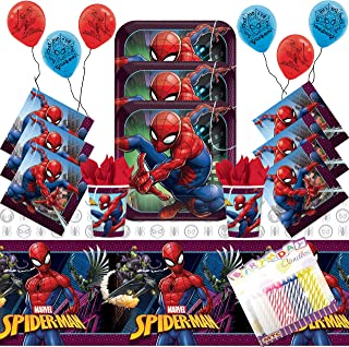 Spiderman Party Supplies Pack Serves-16: Dinner Plates Luncheon Napkins Cups Balloons and Table Cover with Birthday Candle...