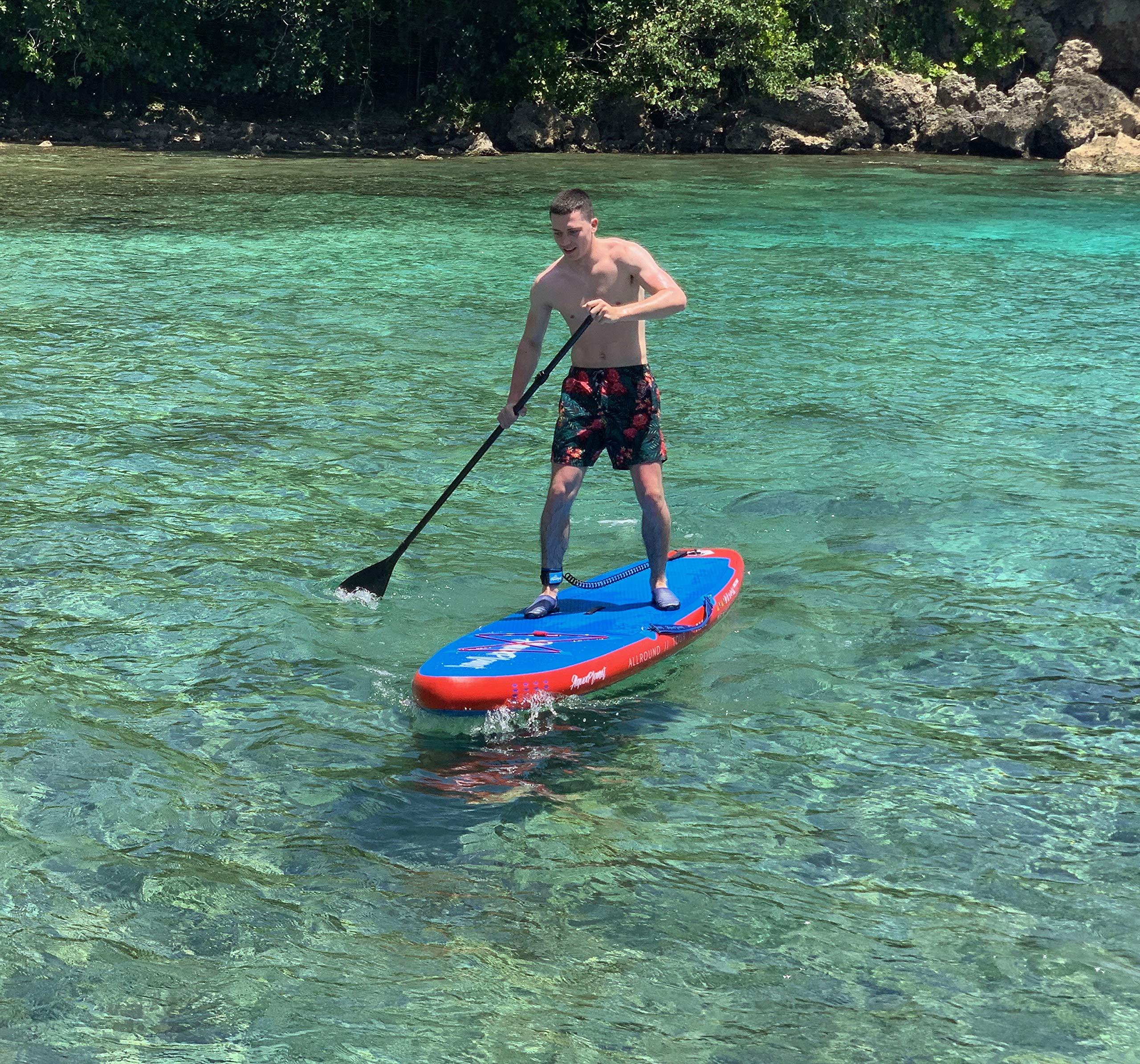 Air Pump with Pressure Gauge,Adjustable Aluminium Floating Paddle,Repair Kit,Heavy Duty Carry Rucksack /& Premium Leash /& 4 Kayak Seat Rings Beginner/'s Kit Aquaplanet 10ft Allround Paddle Board