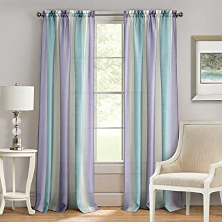 "Achim Home Furnishings SPPN84LI06 Spectrum Rod Pocket Window Curtain Panel, 50"" x 84"", Lilac/Turquoise"