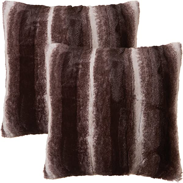 North End Decor Faux Fur 2 Pack 18 X18 With Insert Mink Brown White Striped Plush Throw Pillows 18x18 Stuffed