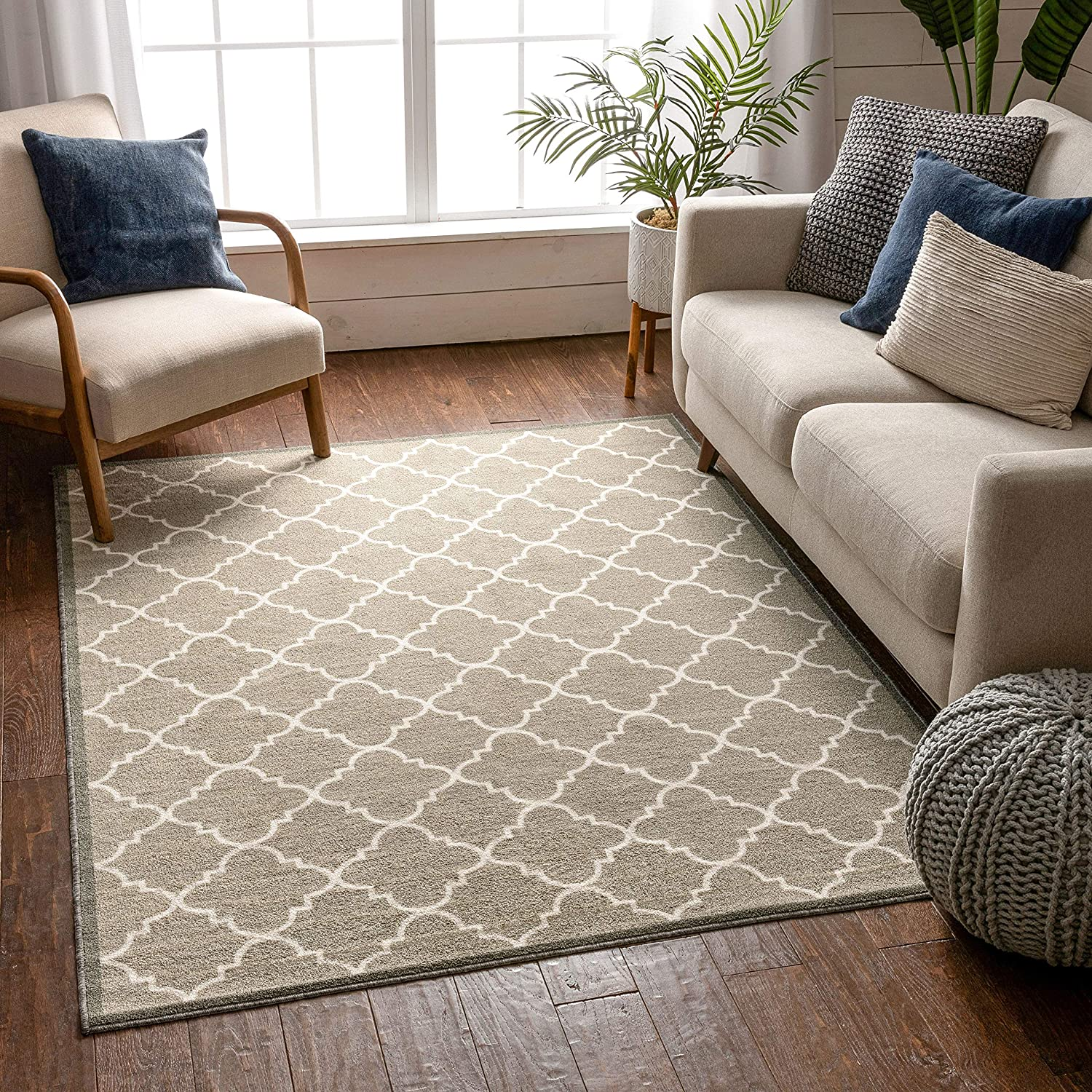 Amazon Com Non Skid Slip Rubber Back Antibacterial 3x5 3 3 X 4 7 Door Mat Rug Dallas Moroccan Trellis Grey Modern Geometric Lattice Thin Low Pile Machine Washable Indoor Outdoor Kitchen Entry Garden Washable throw rugs without rubber backing