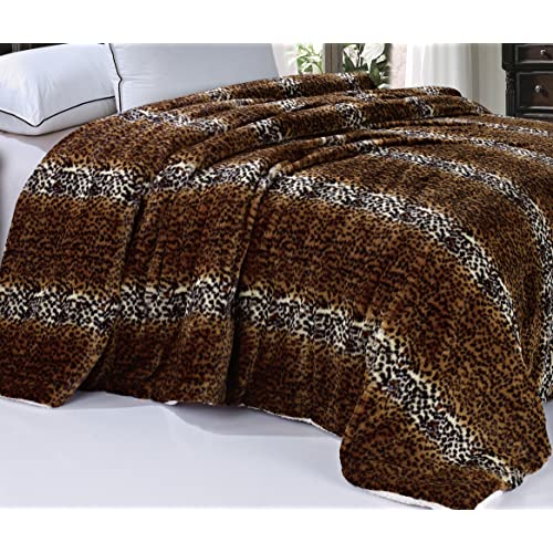 """Boon Soft and Thick Faux Fur Sherpa Backing Bed Blanket, Tiger, 84"""" x 92"""""""