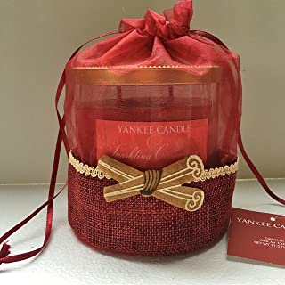 Yankee Candle SPARKLING CINNAMON Medium 2-Wick Tumbler Candle in a Decorative Burlap Gift Bag