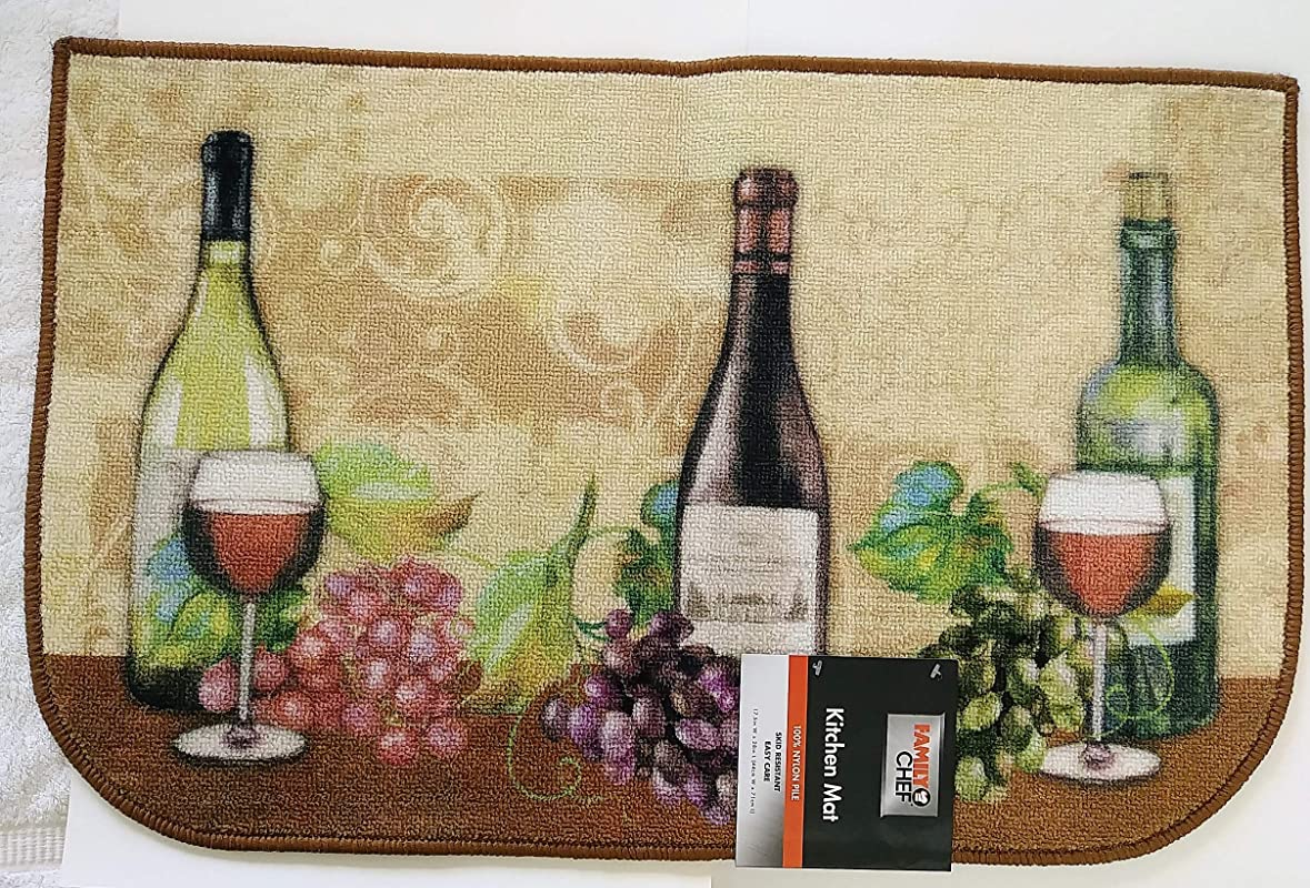 Tuscan Kitchen MAT Area Rug Wine Grapes Vines Beige Slice Semicircle
