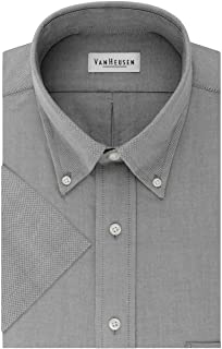 Men's Short Sleeve Dress Shirt Regular Fit Oxford Solid