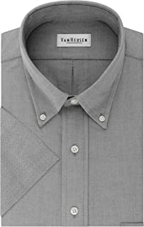 Van Heusen Men's Short Sleeve Dress Shirt Regular Fit Oxford Solid