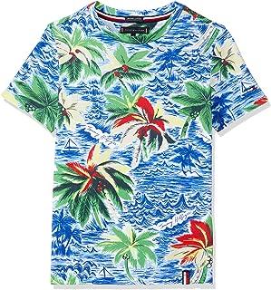 TOMMY HILFIGER Kids Boys 3-7 Tropical Print Crew Neck T-Shirt, Bright White/Multi