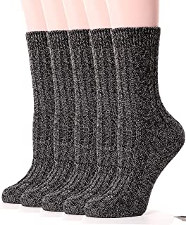 Womens Wool Socks Knit Warm Comfort Cotton Work Duty Boot Winter Socks For Cold Weather 5 Pack