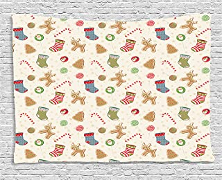 Christmas Tapestry, Traditional Sweets of Xmas Party Gingerbread Cookies Lollipop Candies with Socks, Wall Hanging for Bed...