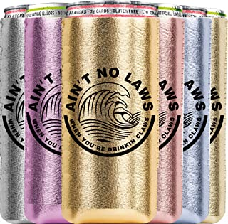 White Claw Can Cooler 6 Pack, Ain't No Laws When You Are Drinking Claws, Insulator Gift Set for 12OZ Tall Drinks like White Claw, Red Bull, Truly, Michelob Ultra Neoprene